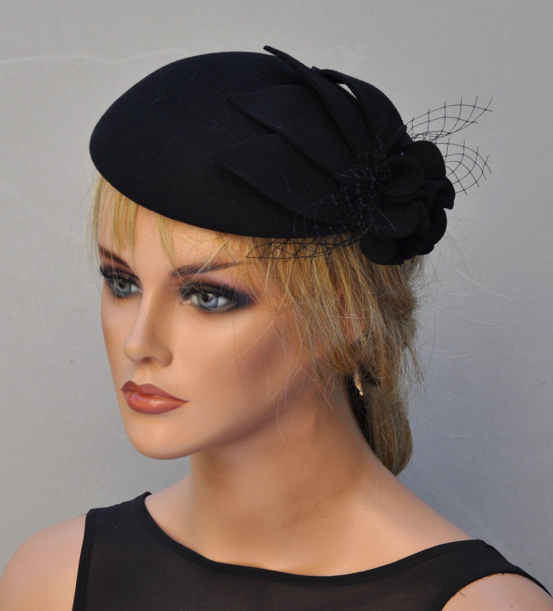 ae0ba4ee1 Fascinator Cocktail Hat, Ladies Black Winter Hat, Church Hat, Formal Hat, Pillbox  Hat, Funeral Hat, Women's Black Hat