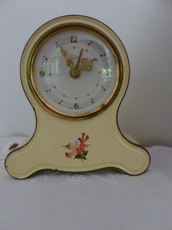 Vintage Rose Wind Up Emes Musical Alarm Clock By Muskrosevintage