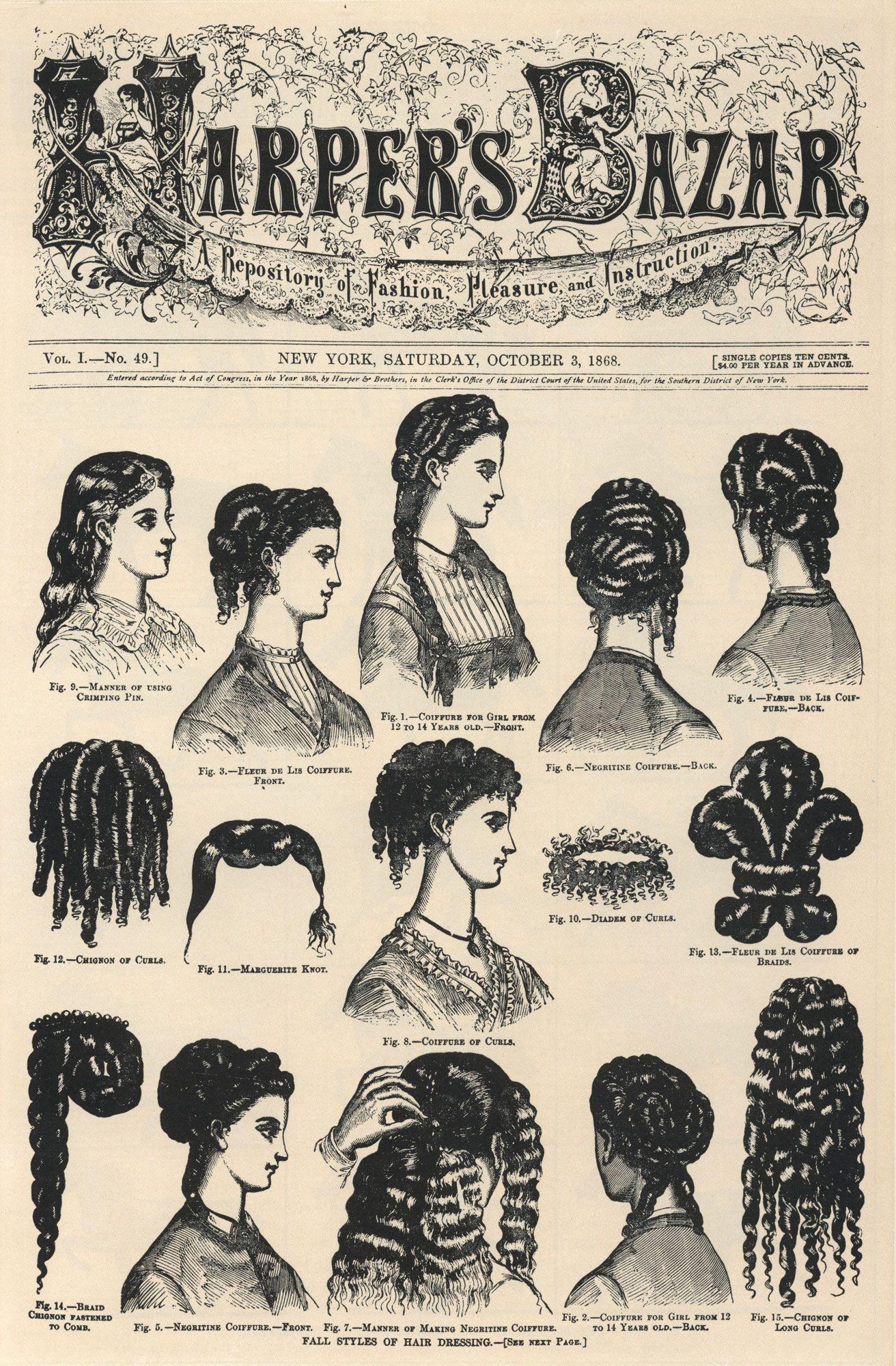 harper's bazar, 1868   hair style-fashion and elegance