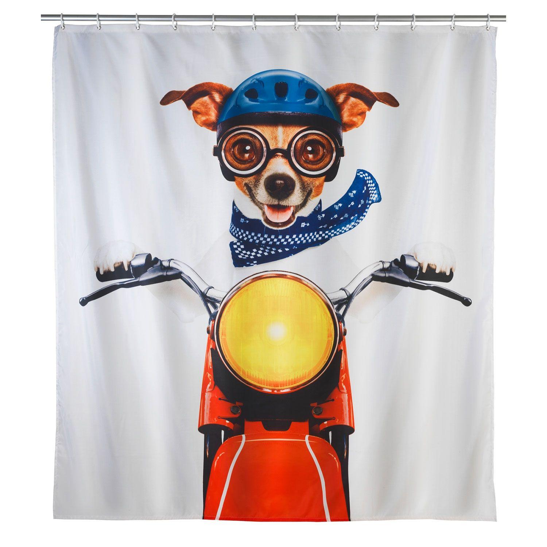 Biker Dog Shower Curtain Dog Shower Biker Dog Rebrilliant