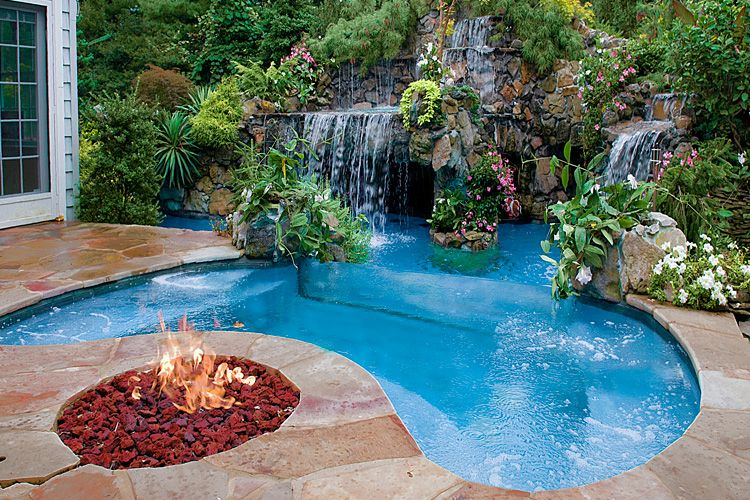 Waterfall home decor pinterest for Pool and jacuzzi designs