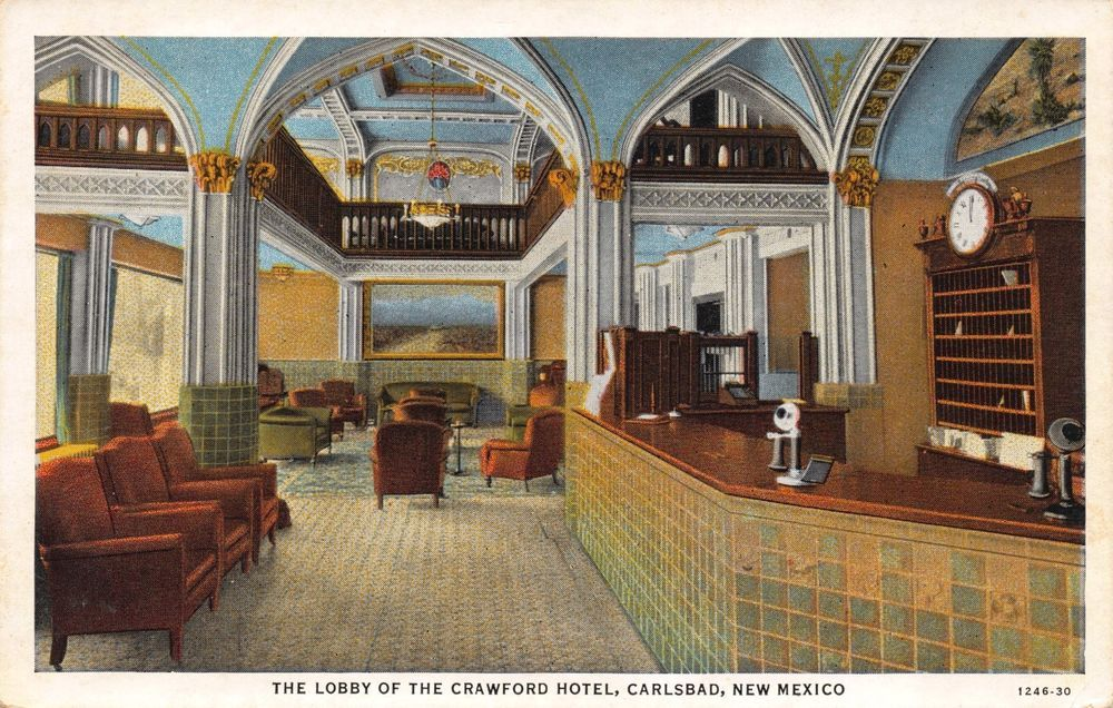 Postcard Lobby Of The Crawford Hotel In Carlsbad New Mexico 110869
