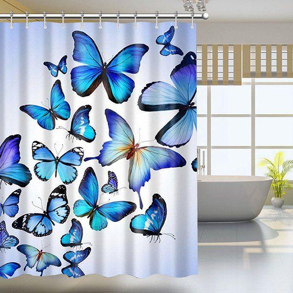 Butterfly Print Waterproof Mildewproof Shower Curtain Colormix