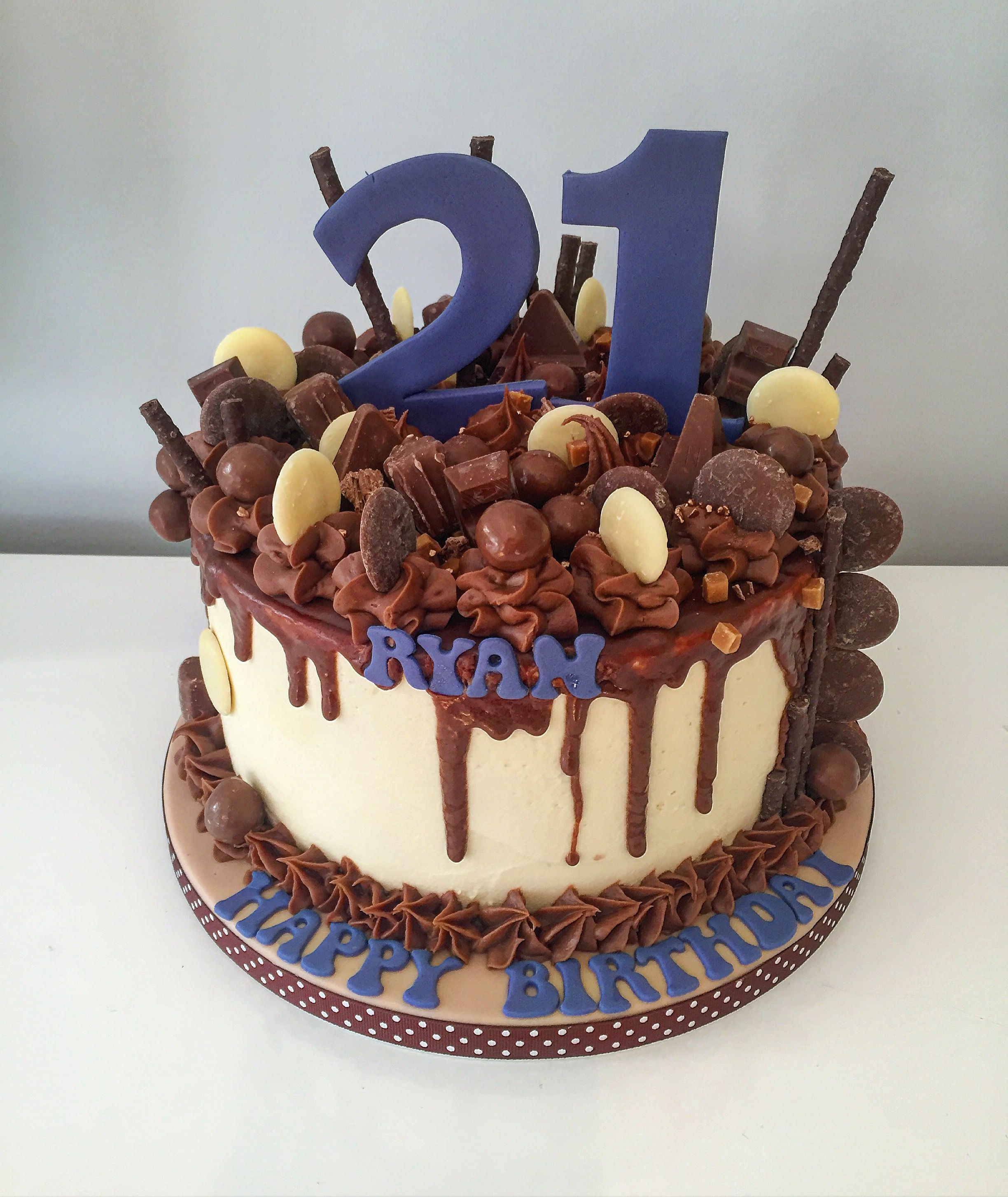 21st Birthday Drip Cake Chocolate Buttons Malteaser Toblerone And Match Sticks