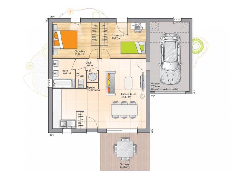 Plan de maison Open Sud PP GA accès Sud 60 so design  Vignette 1 - plan de maison design