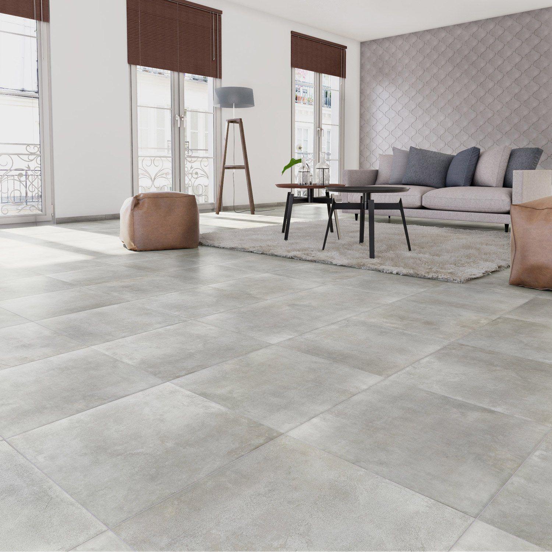 Carrelage sol et mur gris clair effet béton Laiton l.60.4 x L.60.4 ...