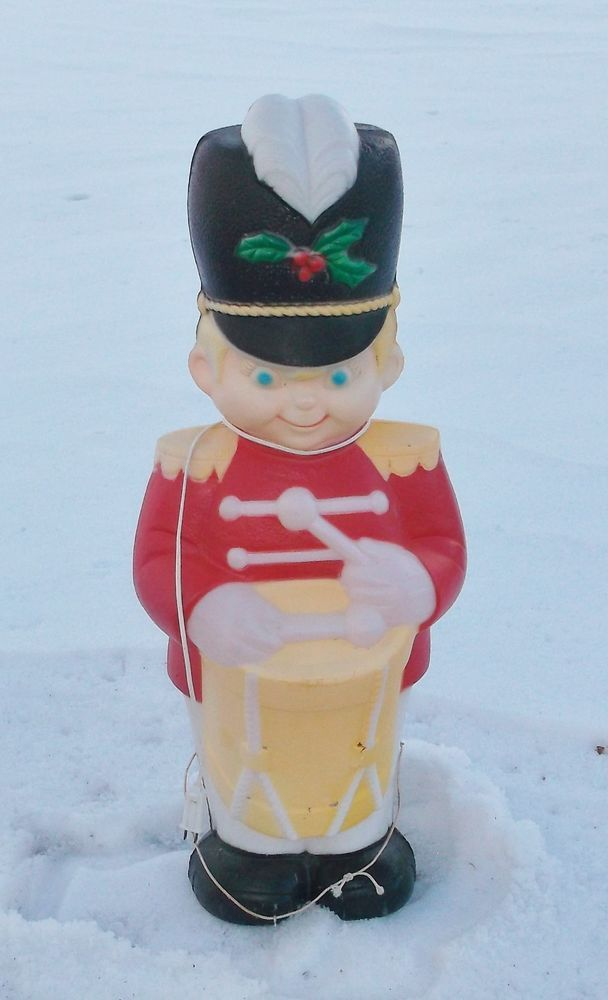 vintage plastic blow mold drummer boy light up figure christmas yard decor 35 - Plastic Christmas Yard Decorations
