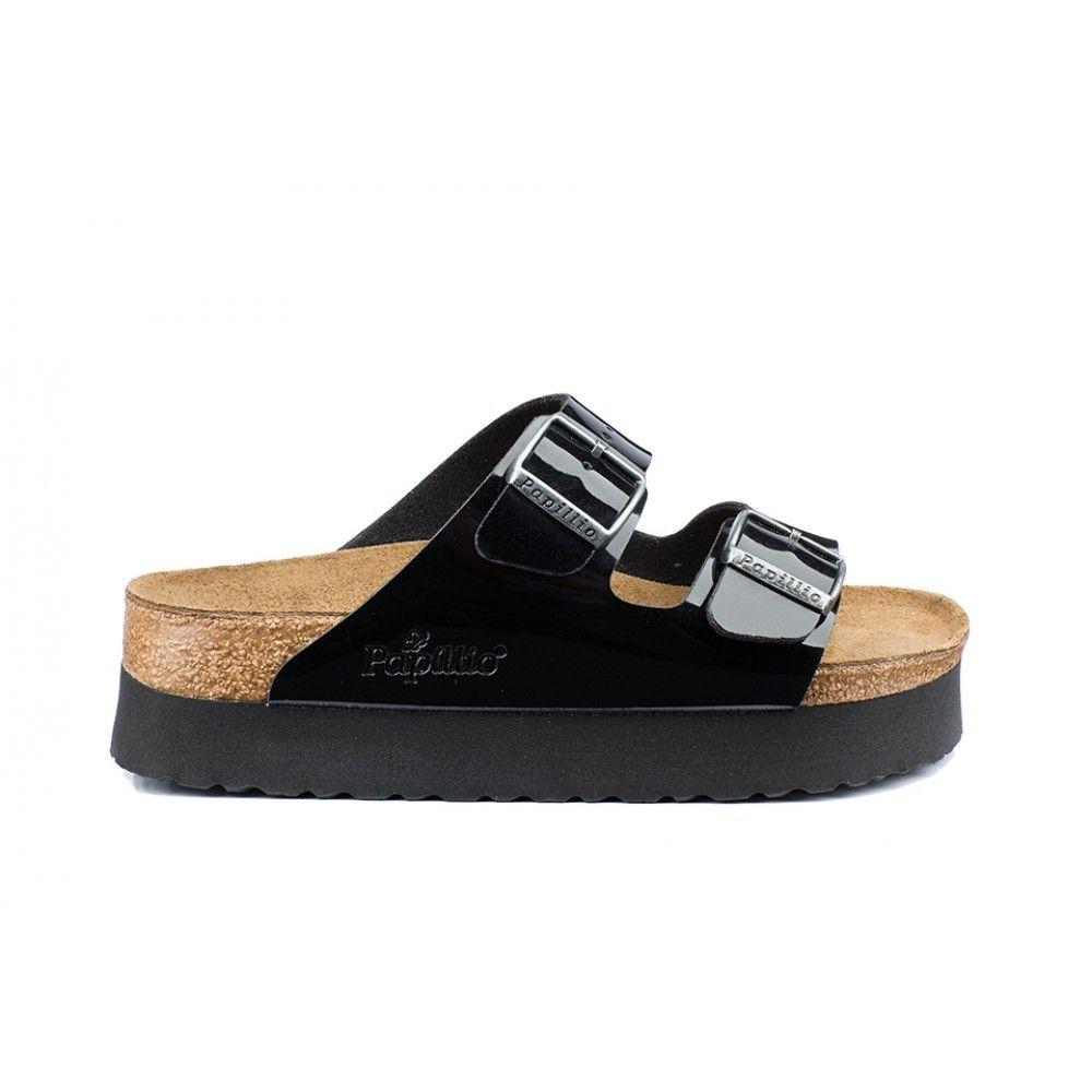 20f57710c1e Sandales Papillio Arizona couleur noir pour femme en birko-Flor® vernis  (vernis noir Platform) - PA363903