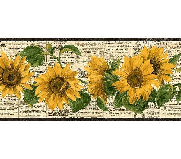 A0cf13cadaafda4f761668bd117688c0 Jpg 600 525 Pixels Sunflower Wallpaper Wallpaper Border Floral Wallpaper Border