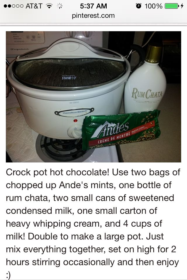 Crockpot hot chocolate made with Rum Chata | Adult drink time ...