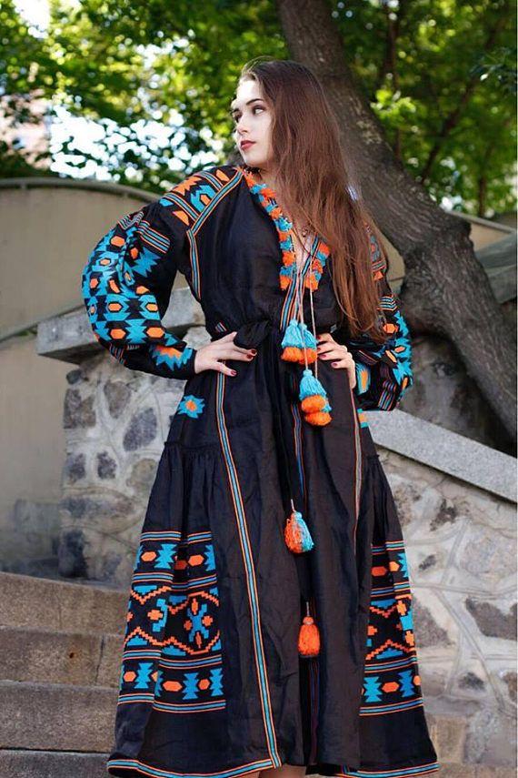 155ee038eff Boho dress ukrainian vyshyvanka for women Embroidered bohemian dresses  Black linen robe maxi kaftan