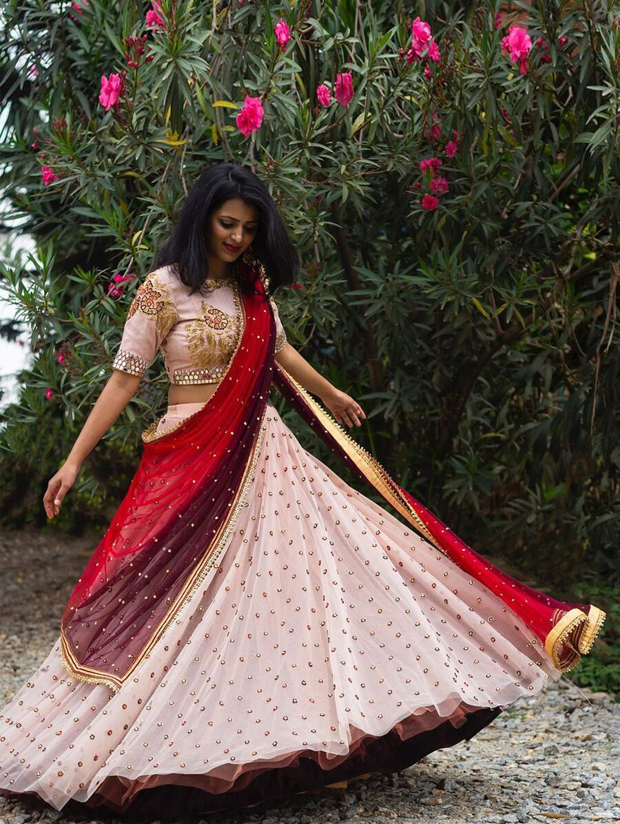 Party Wear Peach Colour Partywear Embroidered Lehenga ...