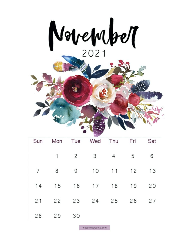 Cute November 2021 Calendar 2021 Printable Calendar Floral, Watercolor Calendar, Letter Size