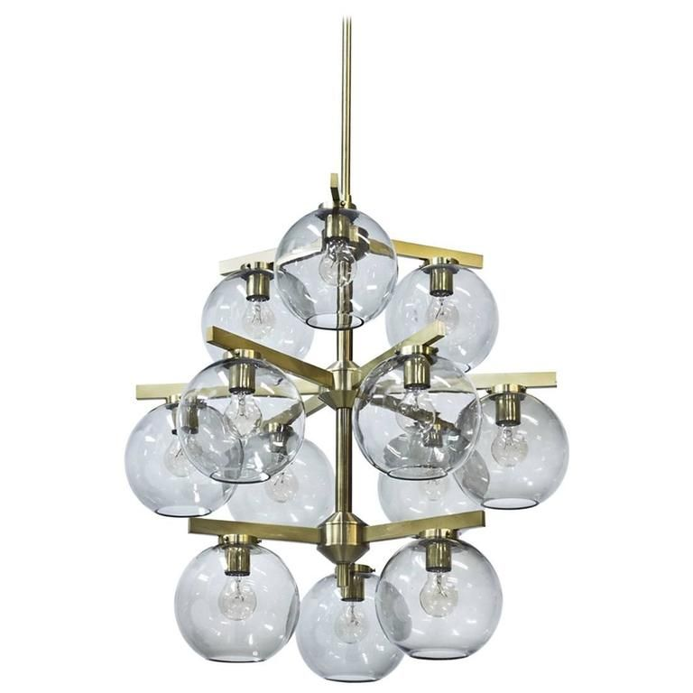 1960s Brass Chandelier by Holger Johansson | From a unique collection of antique and modern chandeliers and pendants at https://www.1stdibs.com/furniture/lighting/chandeliers-pendant-lights/