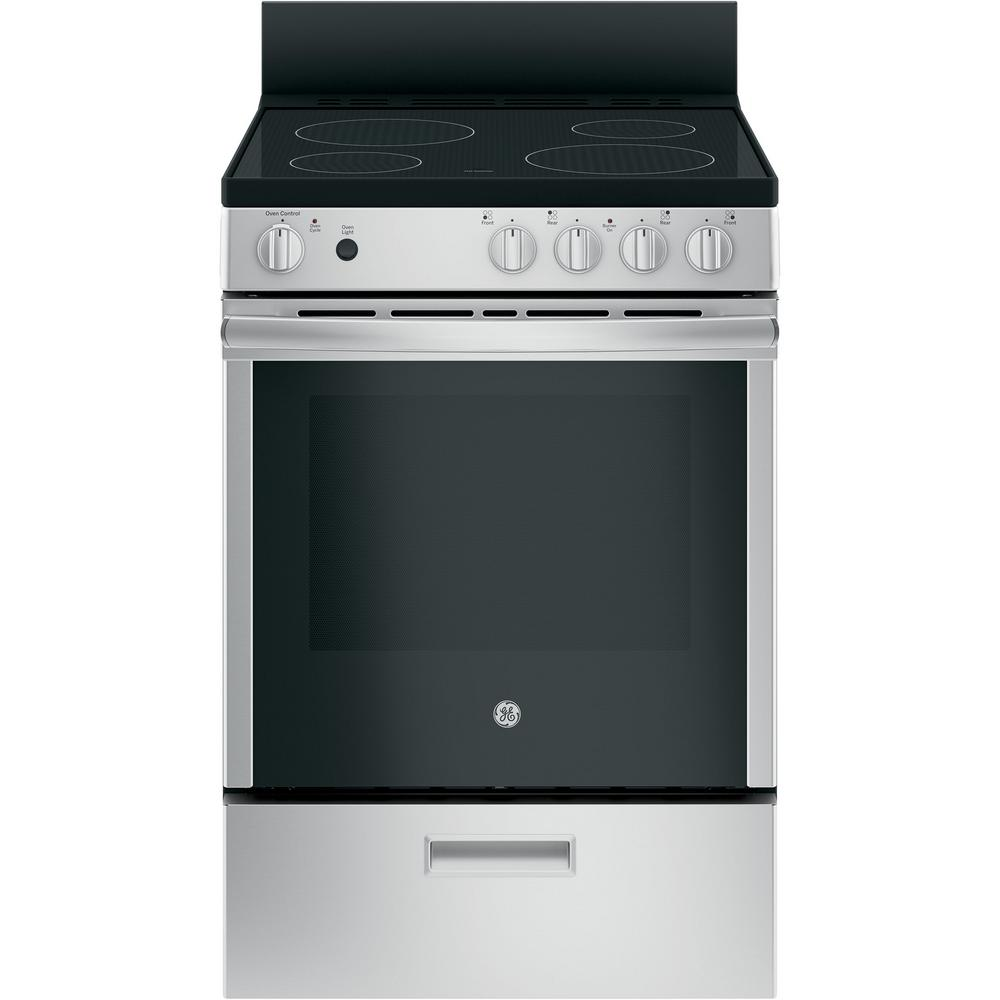 Ge 24 In 2 9 Cu Ft Electric Range With Steam Cleaning Oven In Stainless Steel Jas640rmss The Home Depot In 2020 Freestanding Electric Ranges Electric Range Oven Cleaning