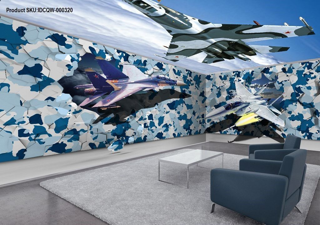 Best 3D Fighter Plane Blue Sky Entire Room Ceiling Wall Murals 400 x 300