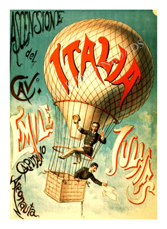 Italy ITALIA Hot Air Balloon Acrobat Vintage by