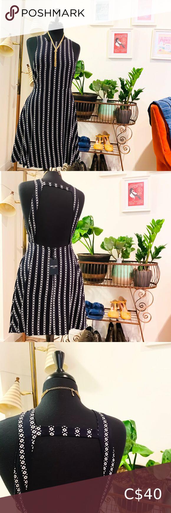 🆕🌻Hide & Seek | Backless A-Line Striped Dress
