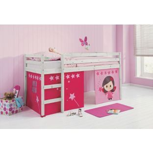 Buy Fun Single Mid Sleeper Bed Frame With Pink Tent
