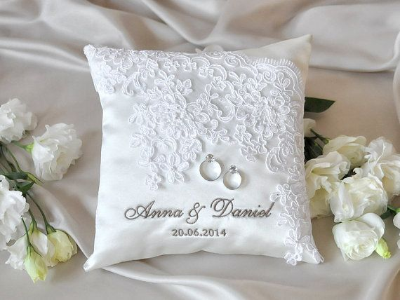 Custom Embroidery is welcome Elegant Wedding Pillow Customizable