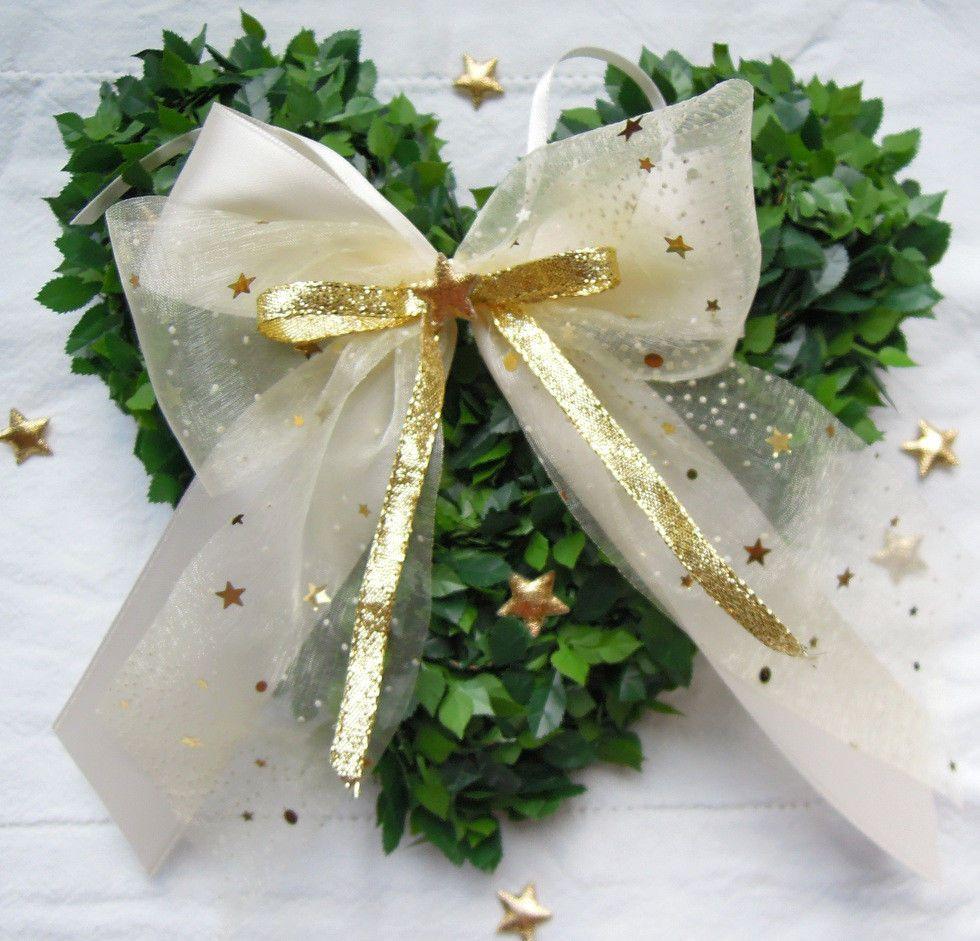 Details Zu 10 Weihnachtsschleifen Creme Gold Sterne
