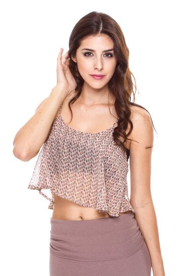 FOREIGN EXCHANGE | CHIFFON FLARE TANK CROP TOP - BODYSUITS & BUSTIERS - TOPS