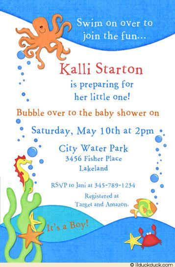Ocean Baby Shower Invitation Seahorse Wave Octopus
