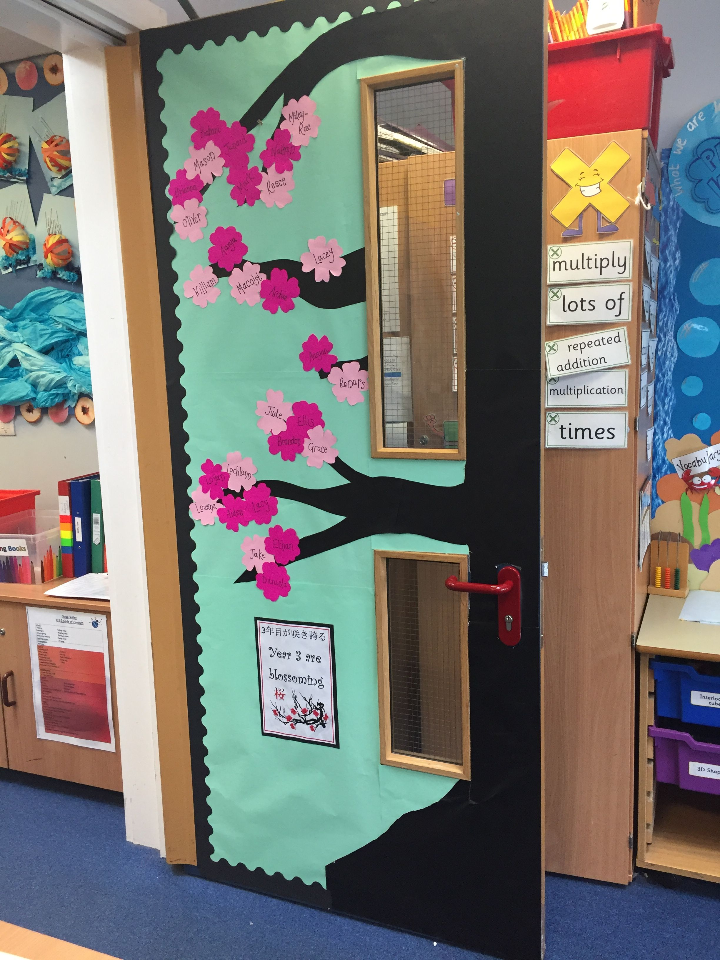 Summer Term Spring Themed Blossoming Class Door Display Japanese Cherry