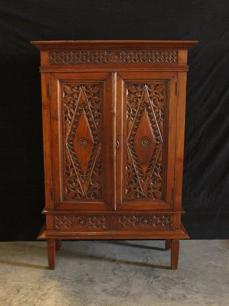 Teak Village Carved Armoire From Indonesia Hip And