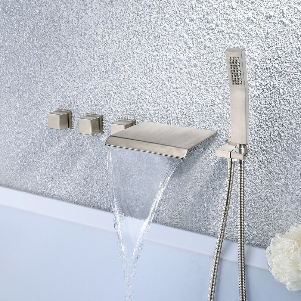 Moda Waterfall Wall Mounted Tub Filler Faucet With Hand Shower