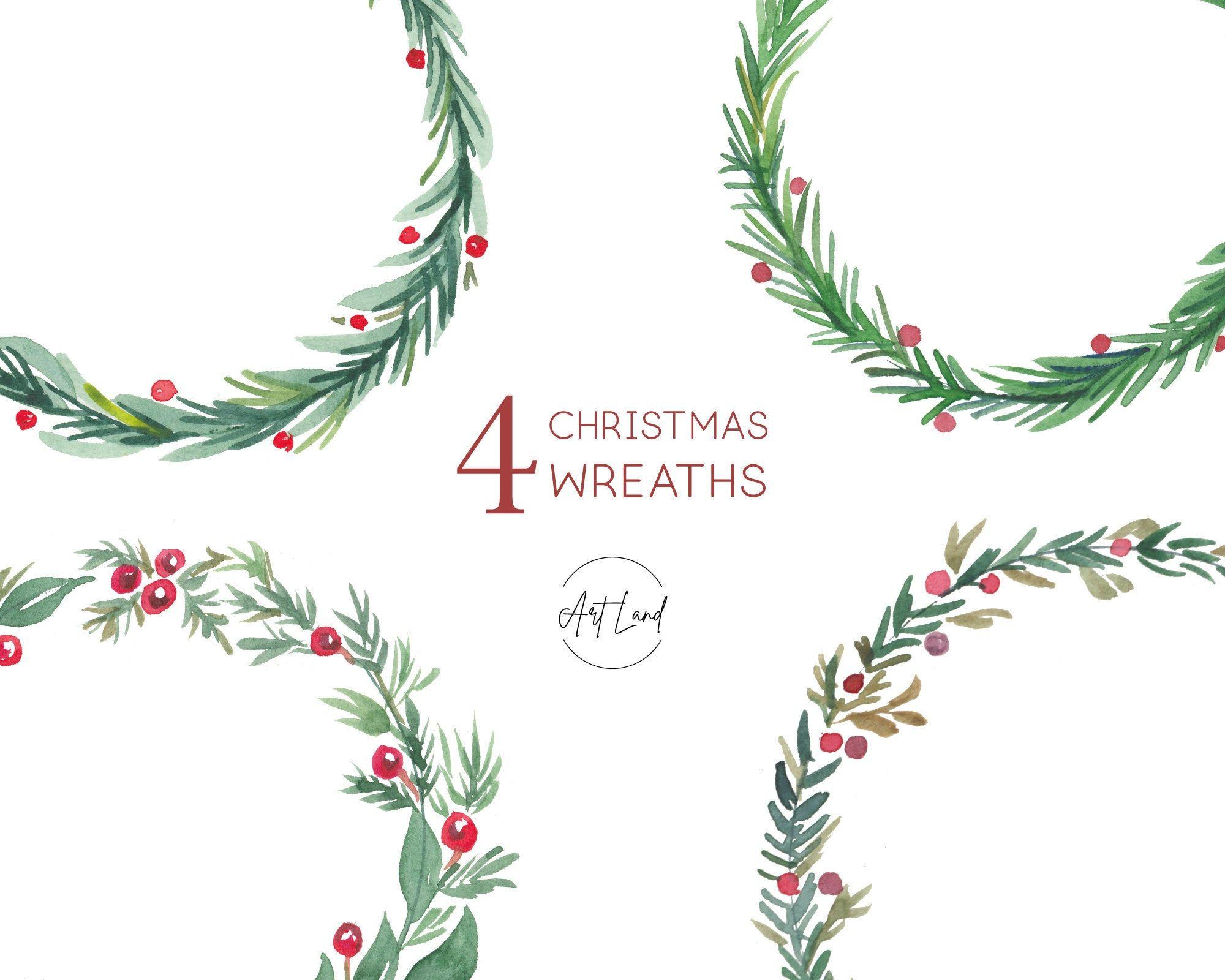 Christmas Wreath Clipart Watercolor Winter Clipart Holiday Etsy Christmas Wreath Clipart Holiday Clipart Clip Art