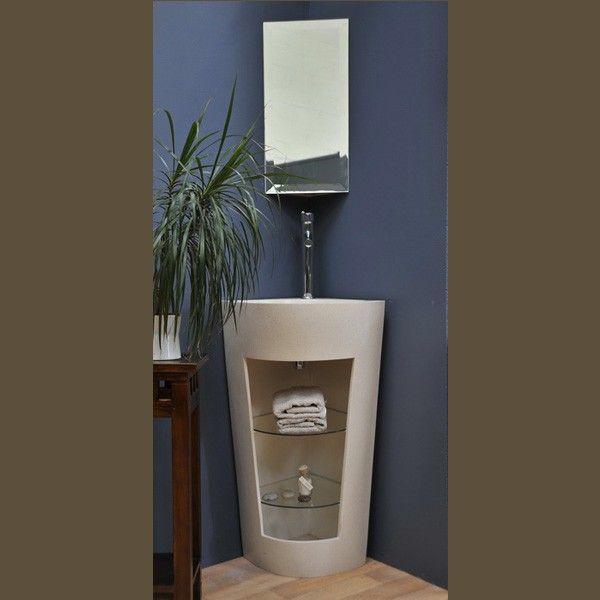 Meuble de salle de bain r sine blanc corner sinks mirror for Cabinet salle de bain