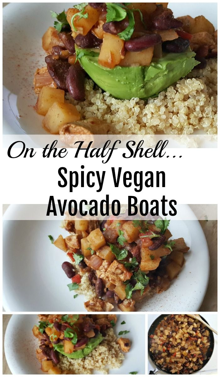 Spicy Vegan Avocado Boats With Beans Potatoes And Quinoa