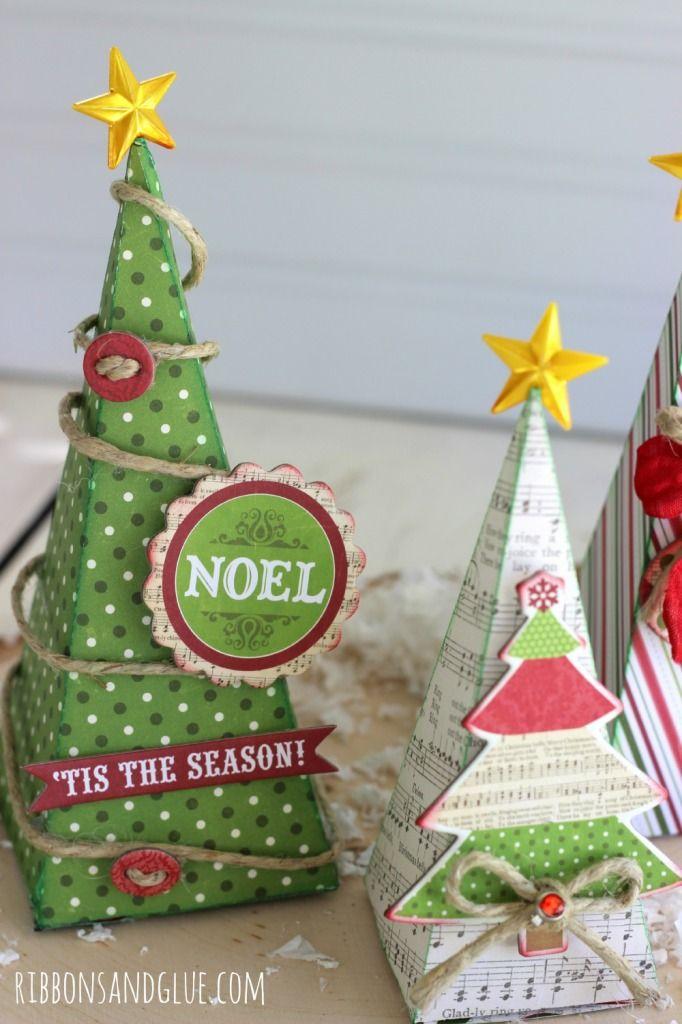 Árboles de Navidad en 3 D - 3D Christmas Trees http://www.ribbonsandglue.com/2014/11/3d-christmas-trees.html