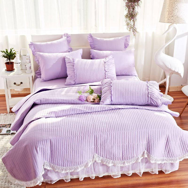 Purple Bedding Cotton Bed Cover Lace Coverlet With Ruffles Summer