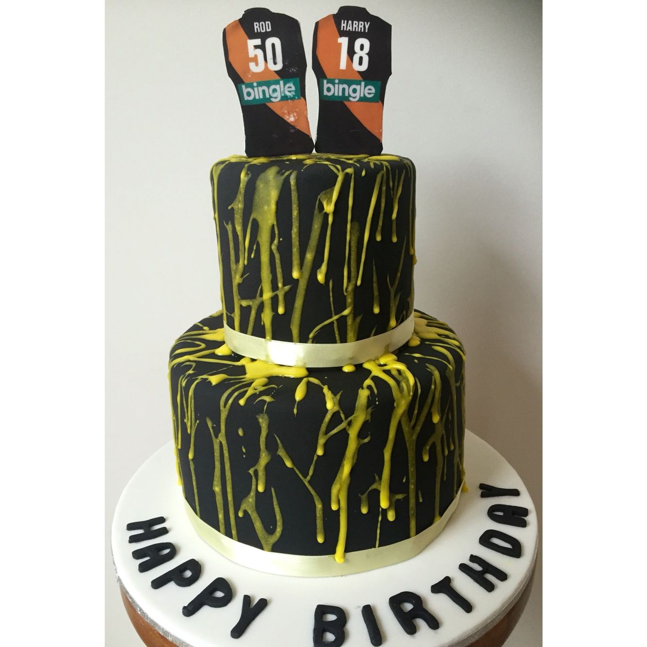 Richmond Afl Cake For A Joint Party Birthday Cake Fondant