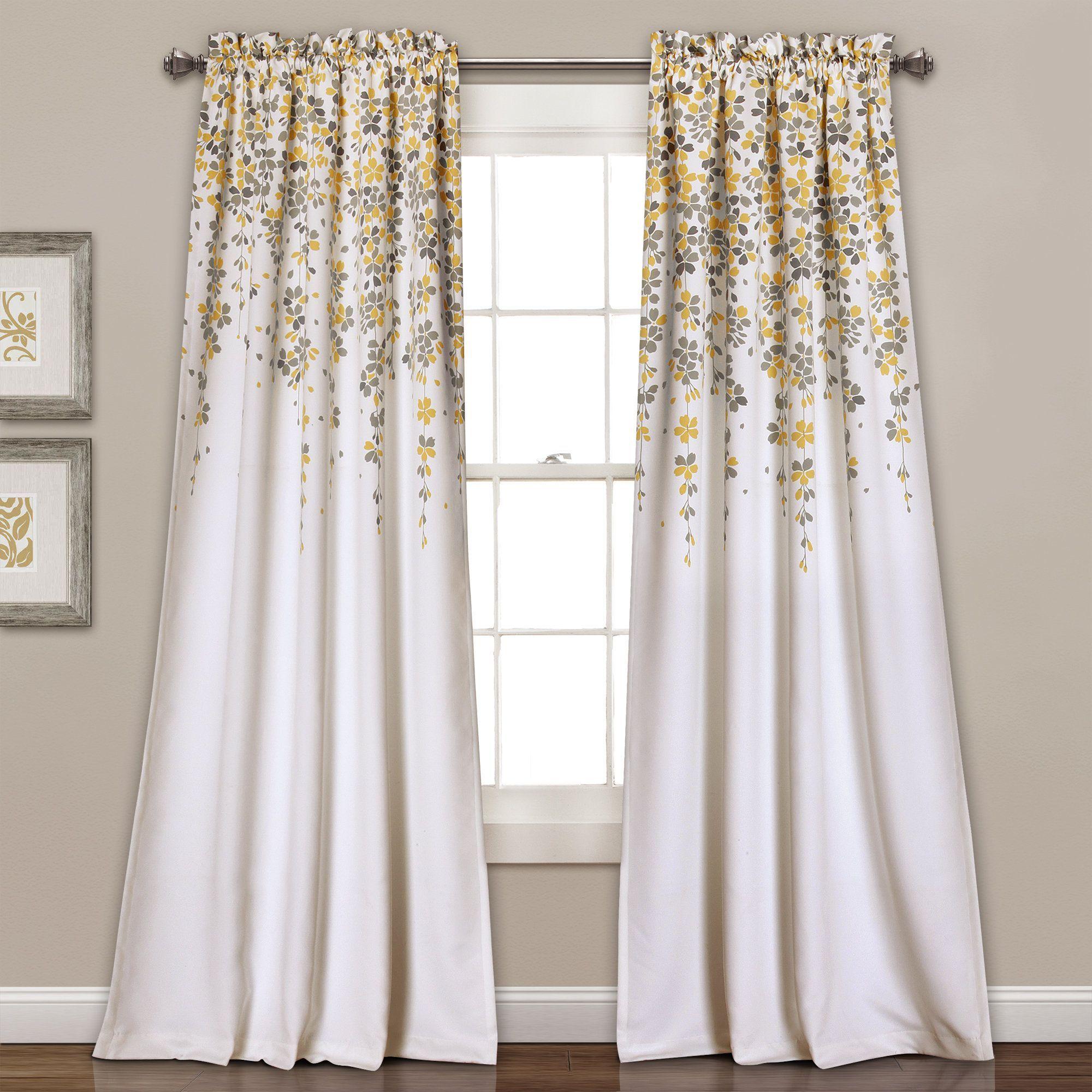 Lush Decor Weeping Flowers Room Darkening Window Curtain Panel Pair 84 X 52 2 Yellow Gray Grey Size Polyester Fl