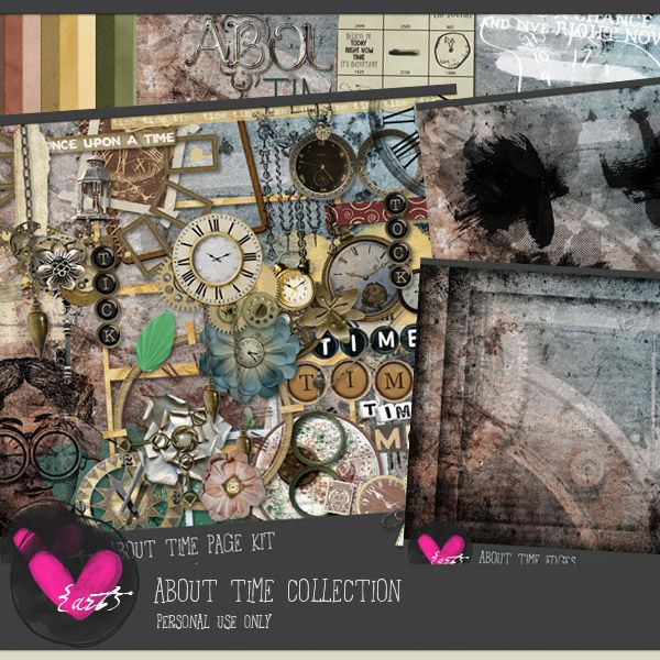 Digital Scrapbooking Studio About Time - Collection - The clock ticks, measuring another unit of time. The clock is a very old invention ... sundials and hourglasses are examples of early clocks. We all seem to be fascinated with clocks, or at least I am.  #thestudio #digitalscrapbooking