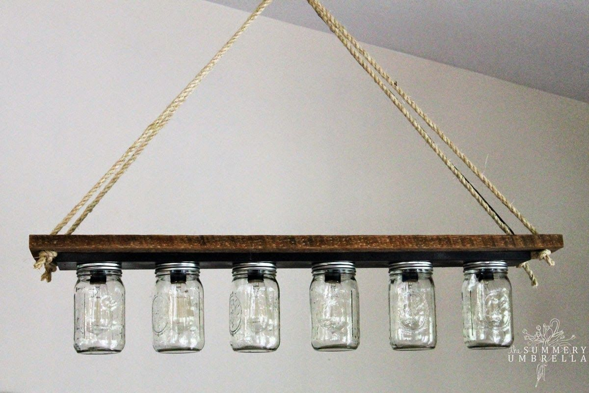 Vanity Lights Mason Jars : Upcycle a Vanity Light Strip to a Hanging Pendant Light Jars, Mason jar bathroom and Featured
