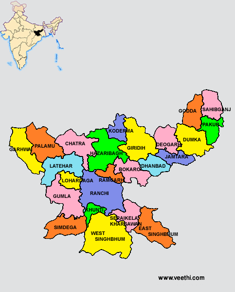 Jharkhand Districts Map  Indian States  Pinterest