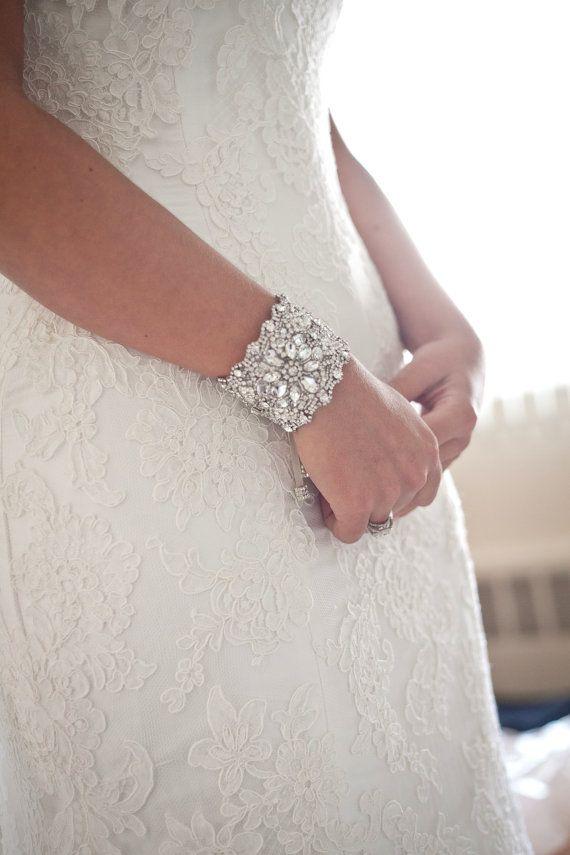 Bridal Cuff Bracelet Wedding Jewelry Antique Silver Vintage Style Swarovski Crystals Dramatic Wide