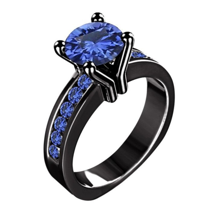 Black Rhodium Plated 925 Silver Blue Sapphire Solitaire With Accents H Sapphire Engagement Ring Blue Engagement Rings Sapphire Sterling Silver Engagement Rings