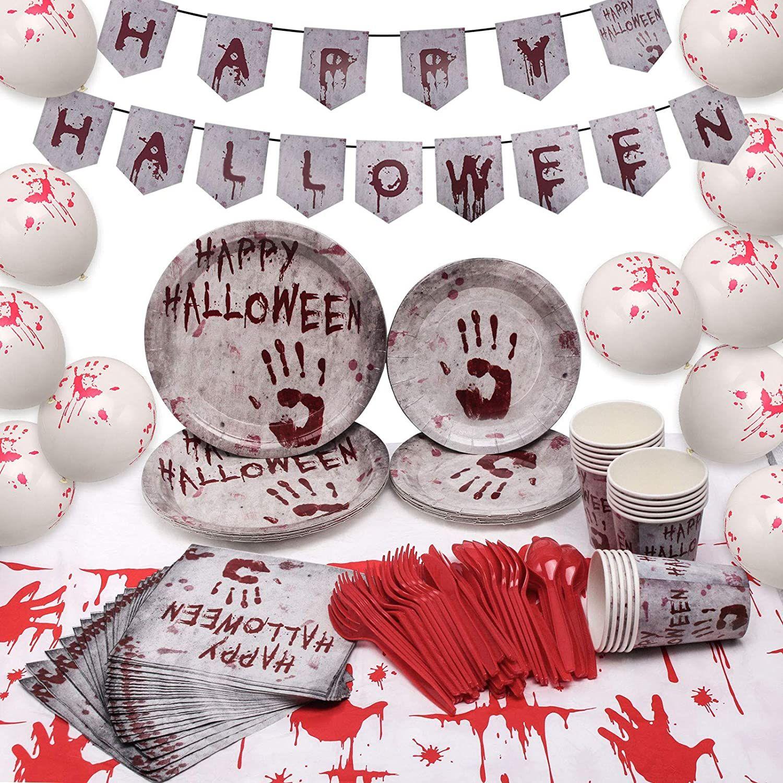 Ballon,f/ür Halloween Mottoparty Tischdeko Partygeschirr Set f/ür 24 Personen Becher ECHOAN Halloween Party Besteckset,Banner,teller