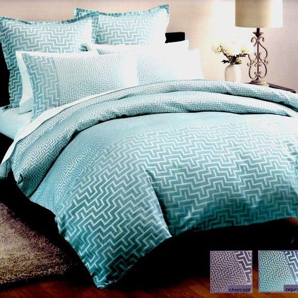 Jacquard Linen House Harrington Aqua Teal King Quilt Doona Duvet Cover Set Turquoise Duvet Cover Master Bedroom Remodel Duvet Cover Sets