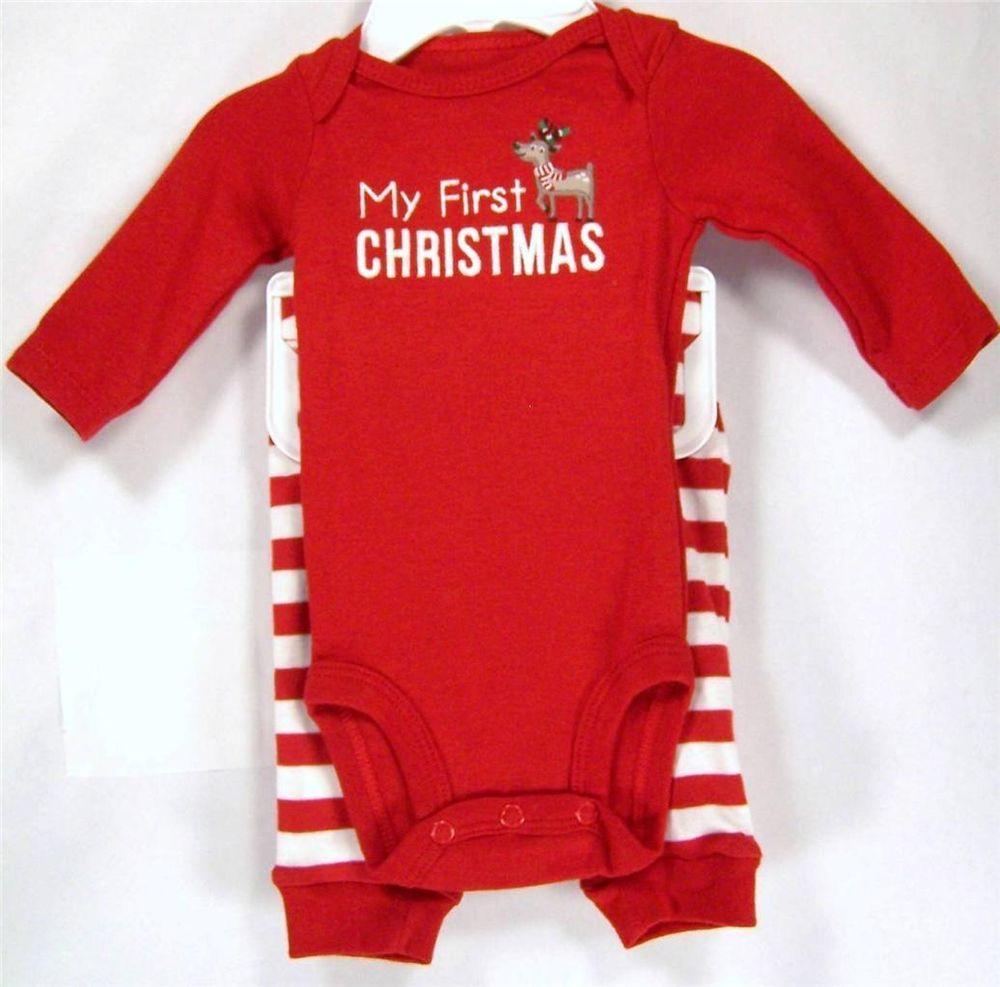 5b56bf3e2 Carter's Newborn Boy or Girl 2PC Set: My First Christmas Bodysuit & Striped  Pant