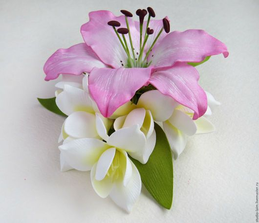 3180ac26087b7b9 Заколка зажим для волос с цветами из фоамирана Розовая лилия. Любовь
