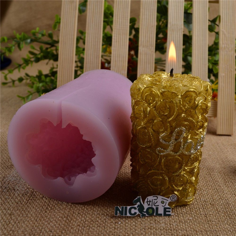 £7.9 GBP 3D Rose Cylinder Silicone Candle Mold Diy Soap