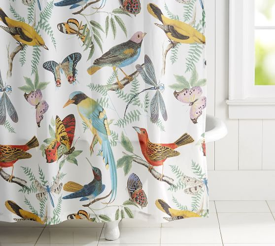 Fauna Bird Print Shower Curtain Potterybarn