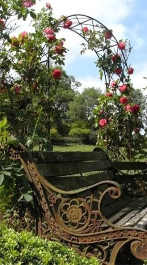 Rose Arch By Estela Garden Bench Dream Garden Beautiful Gardens