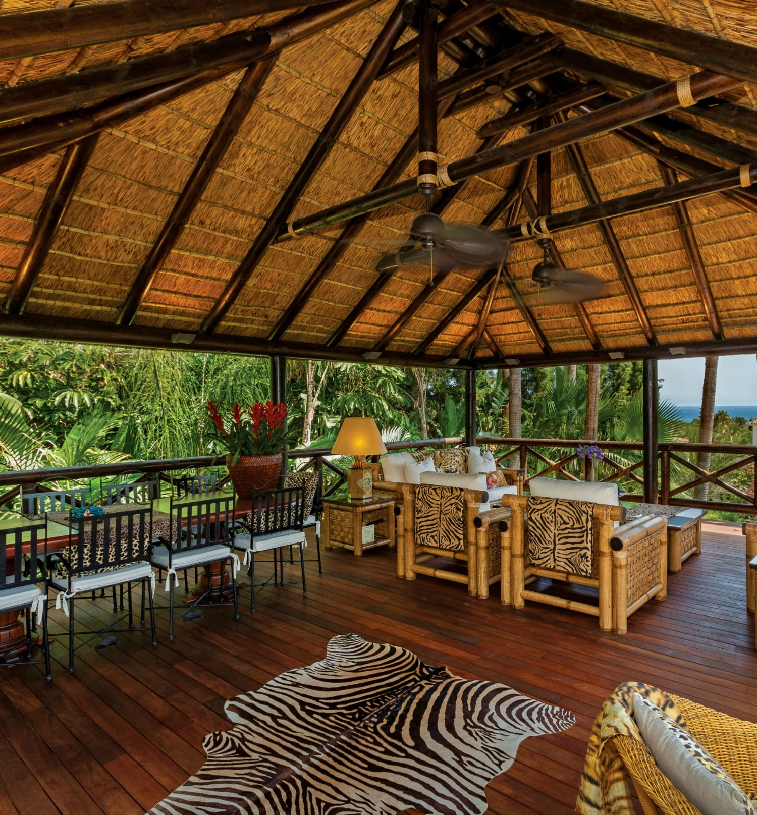 Thatched Gazebo With African Decor With Views Of The Ocean